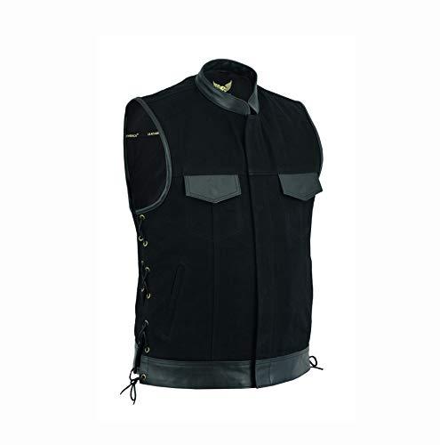 Leatherick Chaleco de motorista de tela vaquera con cordones y bolsillos para pistola, color negro