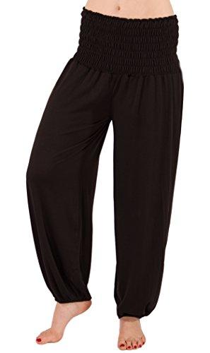 FASHION YOU WANT Damen Haremshose Pumphose Aladinhose Sommerhose Modal Jogginghose Yoga Pilates Stretch Hosen Pants Relax Festivalhose ideal für Sport und Freizeit (44/46, schwarz)