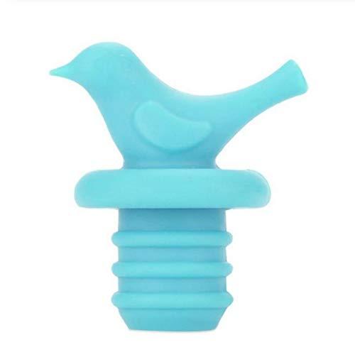 Komopesu Xiaoniao - Tapón reutilizable para botella de vino de alta calidad, tapón para botella de bebidas, respetuoso con el medio ambiente, saludable y no tóxico para botella de vino (azul)