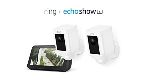 Ring Spotlight Cam Battery 2-Pack (White) with Echo Show 5 (Charcoal)