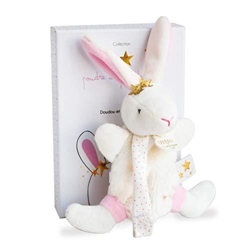Doudou et Compagnie - Doudou Attache-Tétine Fille - Lapin Etoile - Blanc/Rose - 15 cm - Jolie Boîte Cadeau - Perlidoudou - DC3510