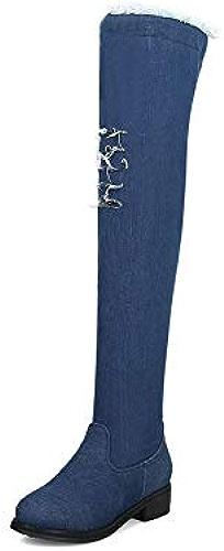 HAOLIEQUAN Les Femmes Au Cours De La Denim Bottes All Match Platfrom Talon Carré Bleu élégant Vêtements Femme bottes Taille 34-43