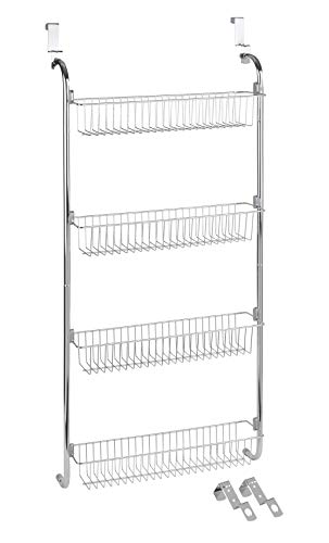 WENKO Tür-Regal, Hänge-Regal mit 4 großen Ablagen für Haushalts-Utensilien, zum Einhängen an die Tür, 49,5 x 109 x 14 cm, verchromtes Metall