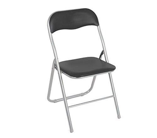 MEDIA WAVE store 2008AN0816 Set 4 sedie pieghevoli GRIGIE ass. Lione imbottita con base metallo, UNICA
