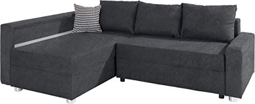Collection AB Enjoy Polsterecke mit Bettfunktion und Bettkasten Ecksofa, Stoff, Anthrazit, 161 x 224 x 84 cm
