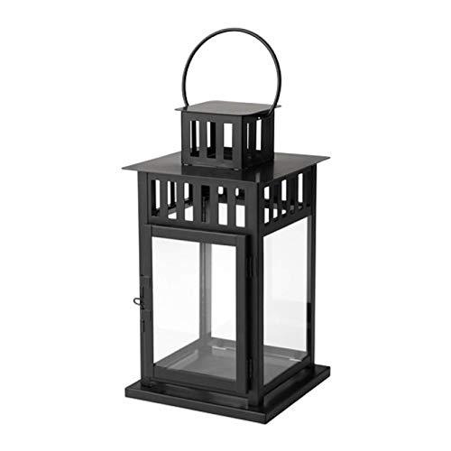 IKEA Borrby Laterne für Blockkerze schwarz innen und außen schwarz 101.561.09 Größe 27,9 cm