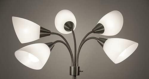 Adesso 25%OFF 7205-22 Multi-White Shade 送料無料(一部地域を除く) Lamp Floor Adjustable Goosenec