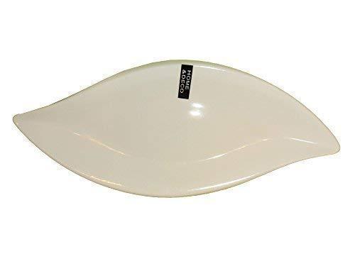 Plateau à Servir 360x160x30 mm Vague Porcelaine Schiffsform Plat à Servir Bol Coupelle en Porcelaine Blanc Vagues Feuilles Plaque Courbé cleanprince Blanc Blanc