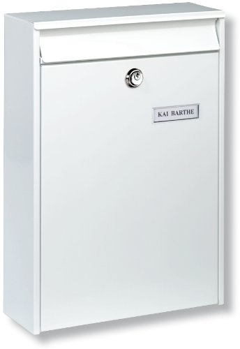 Burg-Wächter Anlagenbriefkasten, A4 Einwurf-Format, EU Norm EN 13724, Verzinkter Stahl, Leipzig 777 W, Weiß