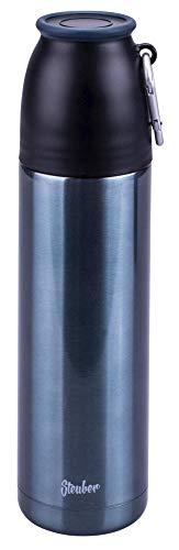 Steuber Thermo Trinkflasche, 500 ml, Edelstahl/Kunststoff, groß und schlanke Form, doppelwandig, mit Karabinerhaken, auslaufsicherer Deckel, blau