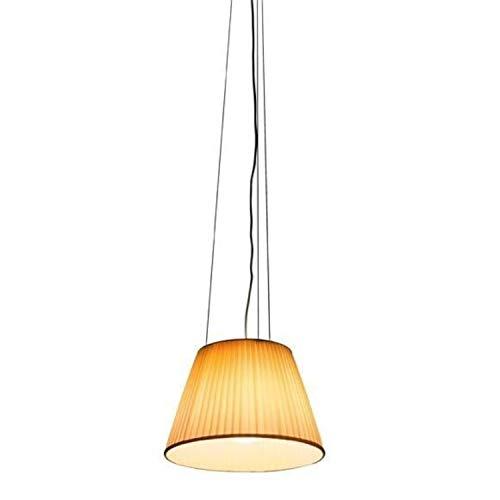 Lámpara de suspensión para techo modelo Romeo Soft S1, pantalla en tejido, bombilla E27, difusor en borosilicato, cable de 4 metros, 34 x 34 x 22,5 cm, color naranja (referencia: F6105007)