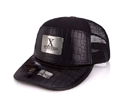 Xtress Exclusive gorra negra de cuero para hombre y mujer