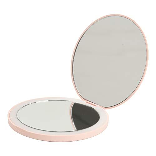 H/L LED 2-Facher Vergrößerung Make-Up-Spiegel, Tragbare Licht-Filling-Taschen-Kosmetikspiegel Mit Versprechen Dimmfunktion Und Einbau-400Mah Lithium-Batterie