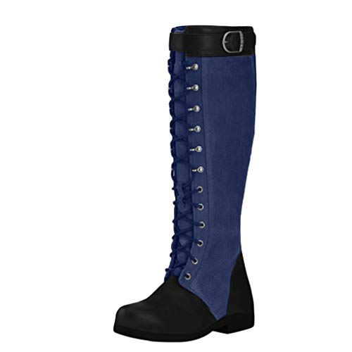 WUSIKY Stiefeletten Damen Bootsschuhe Boots Geschenk für Frauen Stilvolle Kniehohe Stiefel klobige Schuhe mit niedrigen Absätzen Cowboy Slip On Boots (Blau, 42.5 EU)