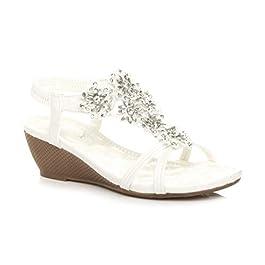 Ajvani Womens Ladies mid Wedge Heel Flower Diamante t-bar Strappy Slingback Sandals