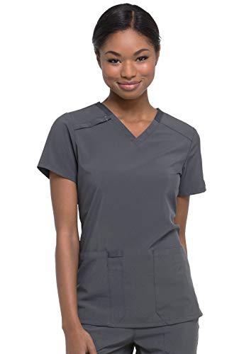 Dickies EDS Essentials Women Scrubs Top V-Neck DK615, L, Pewter