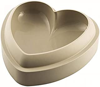 Silikomart 22.820.13.0065 Silicone Mold Batticuore Flexible Heart-shaped Cake Pan with 3D Technology, 50-3/4-Fluid Ounces, Gray