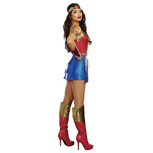 1-1 Halloween Cosplay Uniform Kostüm Superwoman Super Bühne Wonder Woman Dc Kostüm-Abendkleid Partei Thema Parteien,Red-L