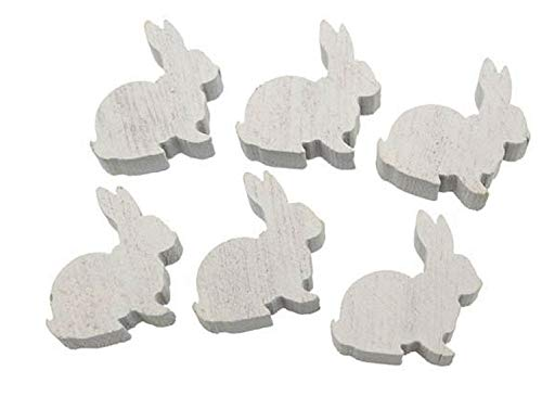 RiloStore - Coniglietto Pasquale in Legno, Bianco, 2,5 cm, Decorazione Pasquale, Stile Shabby Chic, in Legno Nostalgia