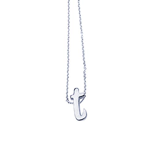Elegant Alphabet A-Z Anhänger Halskette Classic Ketten aus Edelstahl Namenskette Feine Panzerkette Pulloverkette Geschenk für Freundin Frau Mutter Schwester Freund Glücksbringer Silber Rosegold Gold
