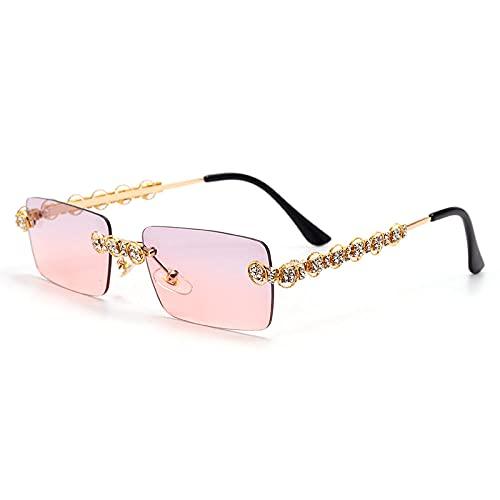 DLSM Gafas de Sol con Diamantes sin Montura para Mujer Rectangular Steampunk Gafas de Sol Cristal Retro Hecho a Mano Rhinestone Glasses UV400 Pesca al Aire Libre Golf-1