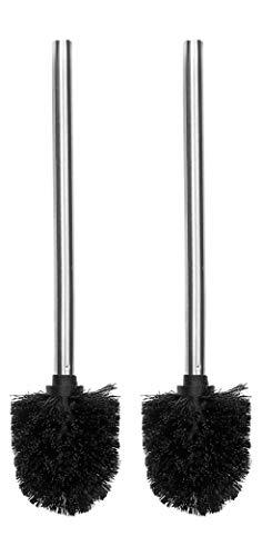 Ambrosya® | Exklusive Toilettenbürste aus Edelstahl | Bad Badezimmer Bürste Bürstenhalter Ersatzbürste Halter Klobürste Klobürstenhalter Toilette WC-Garnitur (2, Edelstahl (Gebürstet))