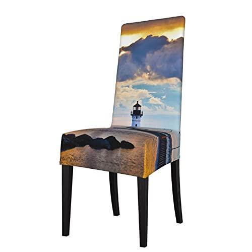 Fundas para silla Lighthouse Lake Superior Duluth Sunset Glow Street Lamp Stretch Super Dining Chair Slipcover Protector Funda de asiento de comedor Fundas de silla extraíbles