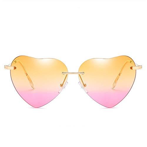 FKJSP Marco Kaleidoscope vidrios del corazón Gafas de Sol de Las Mujeres de Lolita del Amor sin Montura Transparente Claro Tinte Gafas de Sol sin Marco UV400 de la Vendimia