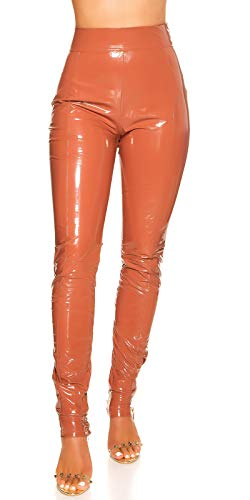 Koucla Highwaist broek Wetlook lederlook lak-look damesbroek met rits