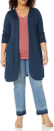 Star Vixen Women s Plus Size Petite Long Sleeve Lightweight Open Cardigan Sweater Navy Solid product image
