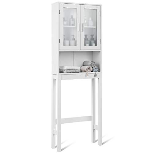 COSTWAY Toilettenschrank weiß, Badezimmerregal mit verstellbarem Einlegeboden, Überbauschrank Bad, Badschrank Holz, Toilettenständer freistehend, 58x18,5x170cm
