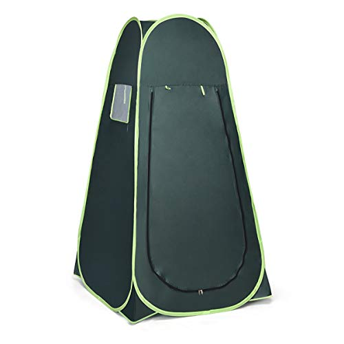 Giantex Pop Up Shower Tent Portable Camping Tent, Easy Set Up and Fold Up Tent for Dressing, Toilet, Changing Room, Outdoor Privacy Shelter with Zipper and Window (Green)