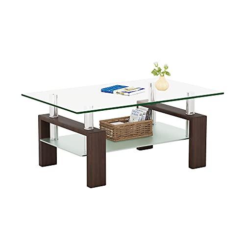 Meihua Rectangle Glass Coffee Table Modern End Table Metal Tube Legs for Livingroom Brown