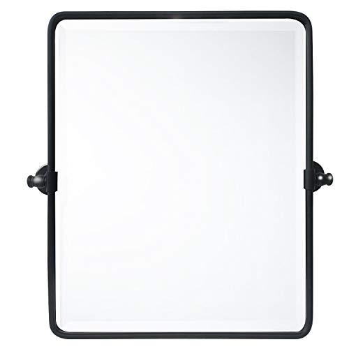 TEHOME 20 x 24 inch Farmhouse Black Metal Framed Pivot Rectangle Bathroom -