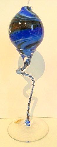 Oberstdorfer Glashütte Lampe à huile avec long pied décoratif coloré bleu, beige, blanc marbré soufflé à la bouche Hauteur env. 30 cm