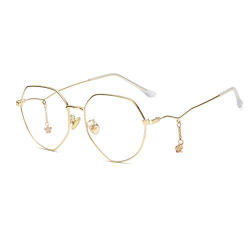 Anti-blauwe leesbril, stijlvol ultra licht, elegant en royaal, HD anti-vermoeidheid, onregelmatige montuur leesbril (kleur: goud, maat: 2,25x)