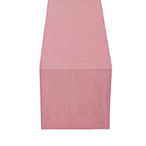 DecoHomeTextil Brilliant Leinen Optik Tischläufer Tischband Abwaschbar Wasserabweisend 40 x 140 cm Altrosa/Rosa Fleckschutz Pflegeleicht mit Saumrand Leinentuch