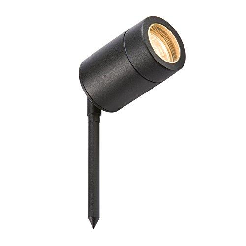 ML Knightsbridge GU10SPIKEBK - Foco para jardín (35 W, GU10, Aluminio Lacado), Color Negro