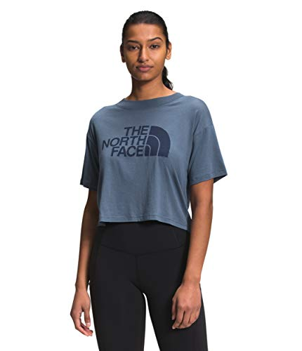 The North Face Women's S/S Half Dome Cropped Tee, Vintage Indigo, L