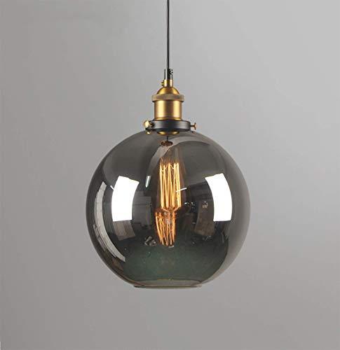 Lampada a sospensione industriale vintage, plafoniera a soffitto con paralume in vetro fumè trasparente con lampadina Edison da 4W per bar ristorante nel corridoio Loft, E27