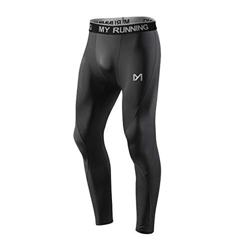 MEETYOO Kompressionshose Herren, Sport Leggings Atmungsaktiv Fitness Strumpfhosen Funktionswäsche Pants Unterhose Lang für Laufen Wandern Radfahren (Schwarz-1, L)