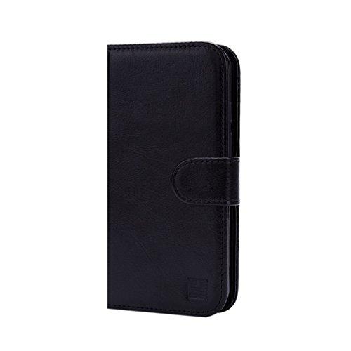 32nd PU Leder Mappen Hülle Flip Hülle Cover für Alcatel Pixi 4 (5) 4G, Ledertasche hüllen mit Magnetverschluss & Kartensteckplatz - Schwarz