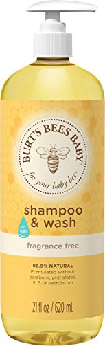 Burt's Bees Baby Shampoo & Wash, Fragrance Free & Tear Free Baby Soap - 21 Ounce Bottle, Multi (I0000432)