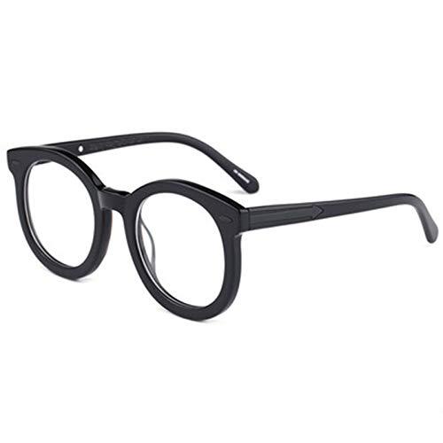 YRC Unisex Lentes Anti-Azules con Alta Permeabilidad Lentes Grandes Marco Anti-computadora Radiación No-Myopia Gafas Negro Protección 100% UV (Color : Black)