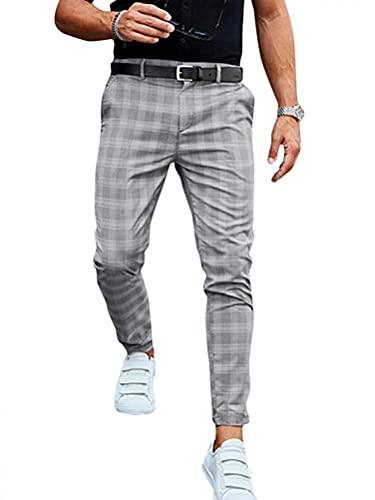 Tomwell Freizeithose Herren Karierte Business Hose Chino Streetwear Lang Pants Sporthosen Trainingshose Sweatpants Slim Fit D Grau XL