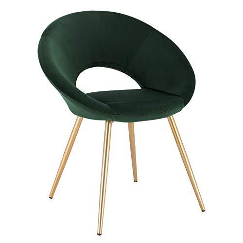 WOLTU® Esszimmerstuhl BH230dgn-1 1 Stück Küchenstuhl Polsterstuhl Wohnzimmerstuhl Sessel, Sitzfläche aus Samt, Gold Metallbeine, Dunkelgrün