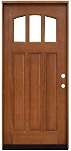 Craftsman 3 Lite Arch Stained Mahogany Wood Left-Hand Entry Door with 4 in. Wall and Prefinished Frame