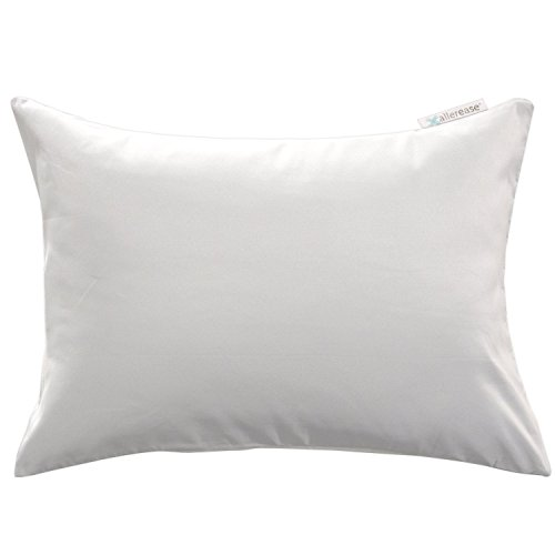 """AllerEase Small Travel Allergy Protection Pillow Protector, 14""""x20"""" (White) – Soft Touch Microfiber Fabric - Block Dust Mites and Other Allergens from Travel/Toddler Pillow – Machine Washable"""