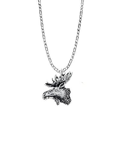 prideindetails Collar de Plata de Ley 925 con Colgante de Cabeza de Alce, Hecho a Mano, Cadena de 45,7 cm con Caja de Regalo