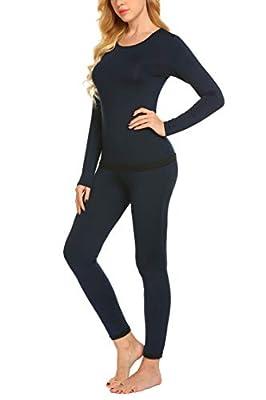 Ekouaer Women's Fleece Thermal Underwear Long Johns Winter Pjs (Navy Blue S)